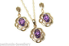 9ct Gold Amethyst Celtic Pendant and Earring Set Gift Boxed Made in UK