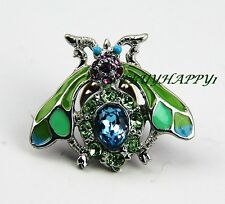 Jay Strongwater Adorable Wasp Tack Pin Swarovski Crystals Brand New