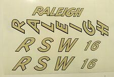 "Vintage Raleigh ""RSW 16""  bike decal/sticker set of 4"