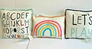Girls decorative Pillows cotton double Sided Printed rainbow Pink and blue gift