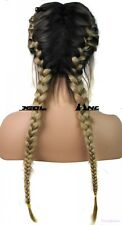 Fashion Ombre Blonde Wigs Synthetic Baby Hair Braided Lace Front Wig Long Black