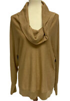 INC International Concepts women's top sweater gold metallic cowl neck size XL