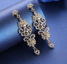 GORGEOUS 18K GOLD PLATED CLEAR CUBIC ZIRCONIA LONG DANGLE STATEMENT EARRINGS