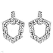 LADIES EARRINGS 14K WHITE GOLD WITH 0.50CTW GENUINE CLEAN DIAMONDS, BRAND NEW