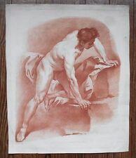 Grande gravure sanguine - Académie - Homme Nu - Carl Van Loo - XVIIIème