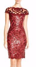 $328 Tadashi Shoji Women's Red  Maroon Cap Sleeve Sequin Lace Dress  NWT SZ 14