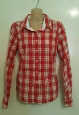 Ladies 12 JACK WILLS red & white check shirt top holiday summer long sleeve