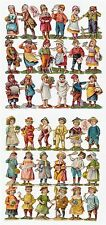 Paper Victorian Diecut LOT - 2 diff Sheets - 36 Little Children ca 1890 Die Cuts