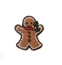 Small Gingerbread Man - Christmas/Holly - Iron on Applique/Embroidered Patch