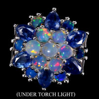 Unheated Pear Blue Kyanite 6x4mm Fire Opal 925 Sterling Silver Big Ring