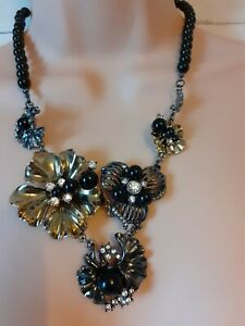 Necklace Signed EB Silver Gold Tone Beads Statement Office Costume jewellery