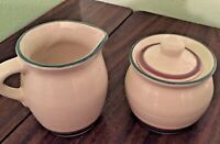 PFALTZGRAFF JUNIPER Creamer & Covered Sugar Bowl - Off White, Mauve & Turquoise