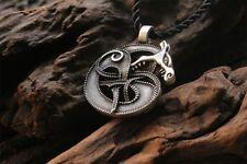 Viking Fenrir Dragon Norse Celt Pagan Pendant Mythology Cord Necklace UK seller