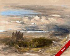HARLECH CASTLE WALES WELSH LANDSCAPE PAINTING UK BRITISH ART REAL CANVAS PRINT