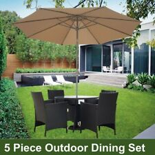 Outdoor Garden Umbrella Dining Table & Chairs Furniture Set 5 Pcs Lounge Setting