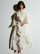 Barbie Doll Sized Wedding Dress with long sleeves and daisy appliques down front