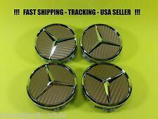 Center Wheel Cap Gold Carbon Fit Mercedes Benz 75mm S-ML-GL-E-C USA Emblem Caps