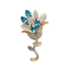 EXQUISITE 18K ROSE GOLD PLATED AND GENUINE CZ & AUSTRIAN CRYSTAL FLOWER BROOCH
