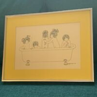 Julie Corsover Children Art Print Bathtub Child Bathing VTG 1973 Framed12X16.5""