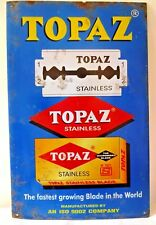 Topaz Shaving Blades Vintage Advertising Tin Sign Graphics Blue Collectibles3#F