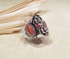 Spinning RING - DORJE Vajra - 925er Silber - drehbar - Koralle Türkis - Nepal