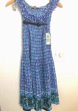 NWT Alfani Women's Petite Sz 8 Blue Floral Print Dress NWT Black Lined Dress