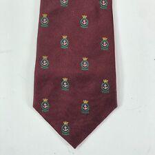 Vintage Polo Ralph Lauren Mens Silk Tie Burgundy Anchor Crown Logo Nautical