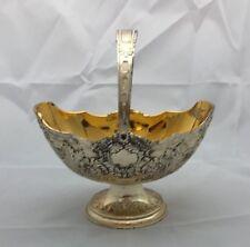 Vintage Silver Plated Pedestal Candy Dish Basket Egg Tarnish Resistant Japan