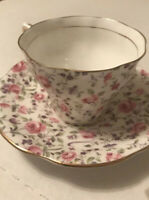 Rosina-English Bone China Tea Cup/Saucer- PINK FLORAL CHINTZ Free Shipping