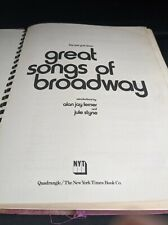 The New York Times Great Songs Of Broadway Hardcover March 1973