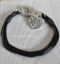 'Mother & Daughter Forever' Heart Leather Bracelet Ladies Mums Girls Gift Black