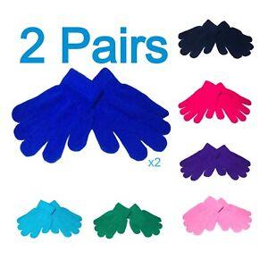 2 Pairs Kids Gloves Childrens Winter Warm Stretch Magic Boys Girls Unisex Gloves