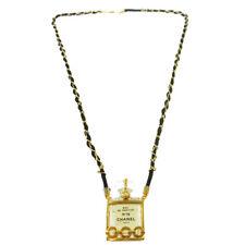 CHANEL Vintage CC Logos Gold Chain Perfume Pendant Necklace Authentic AK36791f