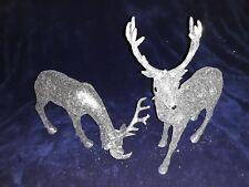 Pair of Premier Silver glitter reindeer ornaments Christmas decoration 30cm high