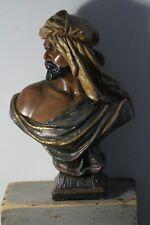 Large Antique Late 19thC Signed Orientalist Arab Shiek Chalkware Bust Statue
