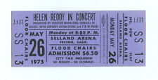 Helen Ready Ticket 1975 May 26 Selland Arena Fresno CA Unused