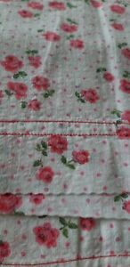 Vintage retro cotton pillowcase pair floral pink spot country core French
