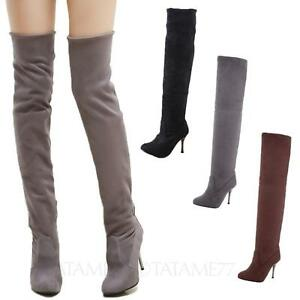 Womens Over Knee Boots Slim High Heels Thigh Length suede Shoes Size 10-4 tata