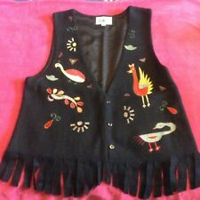 Vintage Embroidered Waistcoat, Size M/L. Black and Multi coloured