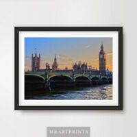 BIG BEN THAMES LONDON SUNSET ART PRINT Poster City Home Decor Wall Photo Artwork