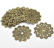 30 Hot Bronze Tone Filigree Flower Wraps Connectors 4.7x4.7cm