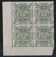 APD683) Australia 1949 Arms £2 MUH NO imprint lower left corner block of 4. ACSC