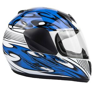 New Youth Blue Motorcycle Helmet DOT Full Face Small Medium Large XL Kids Child