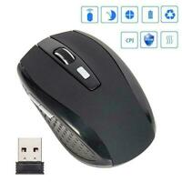2.4GHz Wireless Optical Mouse Mice Laptop PC Computer Black with Receiver D2I3