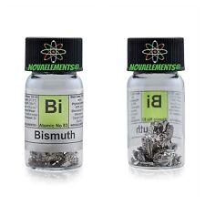 Sección de bismuto metal element 83 sample pieces 99,99% 10g etiquetado en glass