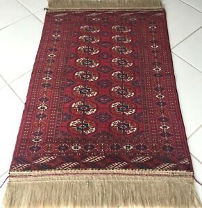 Turkmen Teppich Russe Tekke Bokhara Handgeknüpft Wein Rot Russia Rug Carpet