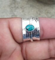 Solid 925 Sterling Silver Spinner Ring Statement Ring Size Turquoise Stone sr222