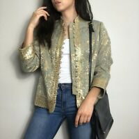NEW Soft Surroundings Embroidered Green & Gold Sequined Ottoman Blazer Jacket 8