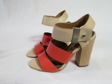 SAM EDELMAN YELENA WOMEN'S SANDALS TAN AND RED LEATHER HEEL ANKLE STRAP SIZE 6 M