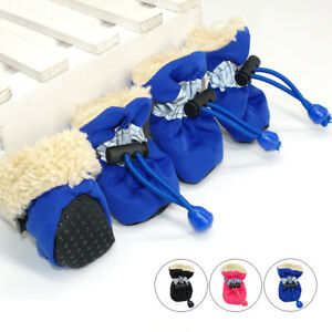 4pcs Dog Antislip Shoes with Reflective Warm Winter Pet Boots Fleece-lined S M L